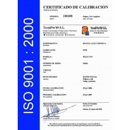 Certificado de Calibración ISO (de 601 Kg. a 1500 Kg.)